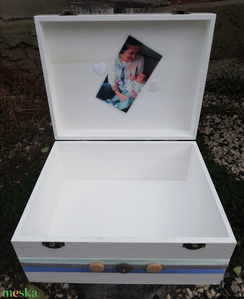 Minőségi, nagyméretű babaváró fényképes, egyterű doboz, kisfiúknak, transzfer-technikával. :-) - Meska.hu