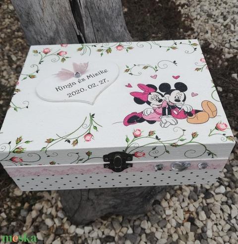 Mickey és Minnie, egyedi feliratos díszdoboz, esküvőre, vagy bármilyen más ünnepi alkalomra. - RENDELHETŐ - Meska.hu