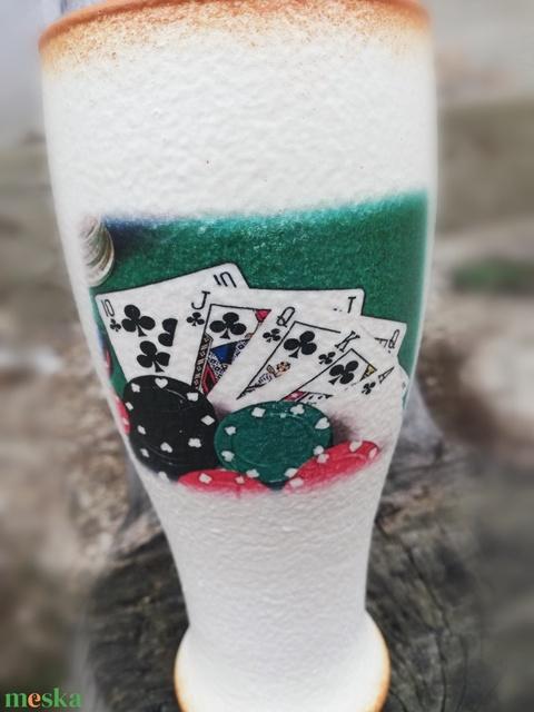 Kártyás, neves, fél literes sörös pohár, transzferálva. :-) - Meska.hu