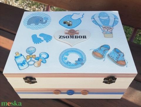 Minőségi, nagyméretű babaváró rekeszes doboz, kisfiúknak, transzfer-technikával. :-) - Meska.hu