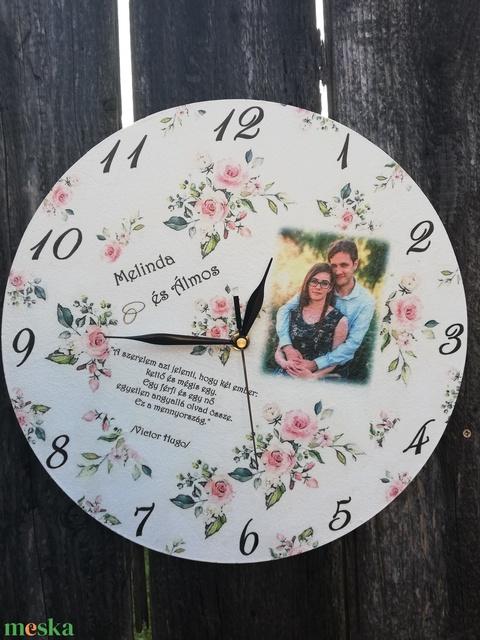 Falióra, esküvőre, házassági évfordulóra, egyedi fotóval, felirattal:-) - Meska.hu