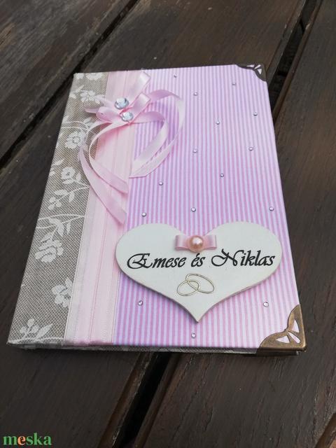 Elegáns vendégkönyv esküvőre, egyedi felirattal vagy akár fotóval is.   :-) - Meska.hu