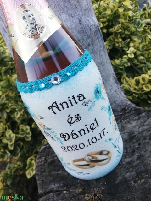 Pezsgő újragondolva. Esküvőre, házassági évfordulóra, egyedi mintával, felirattal, fotóval. :-) - Meska.hu