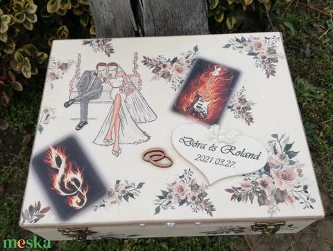 Rock-12 rekeszes ajándékátadó doboz esküvőre, fotótranszferrel. :-) - Meska.hu