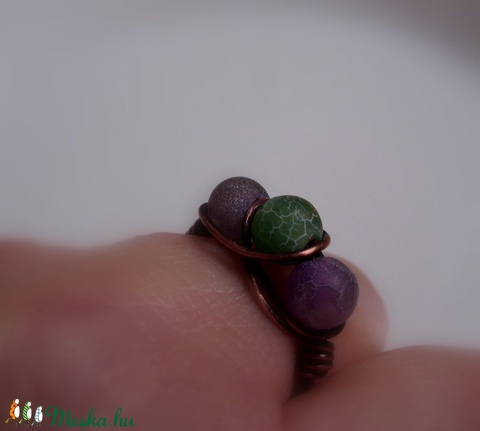 Roppantott achát háromköves gyűrű vörösrézből - Meska.hu