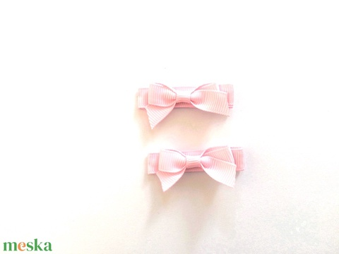 Rózsaszín kicsi masnis hajcsat (RibbonLove) - Meska.hu