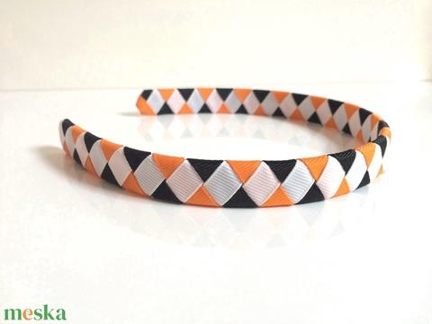 Cikk-cakkos hajpánt (fehér, narancs, fekete) (RibbonLove) - Meska.hu