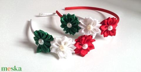 Nemzeti (piros, fehér, zöld) virágos hajpánt (RibbonLove) - Meska.hu