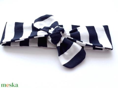 Tengerészkék fehér csíkos rugalmas pamut fejpánt / hajpánt (RibbonLove) - Meska.hu