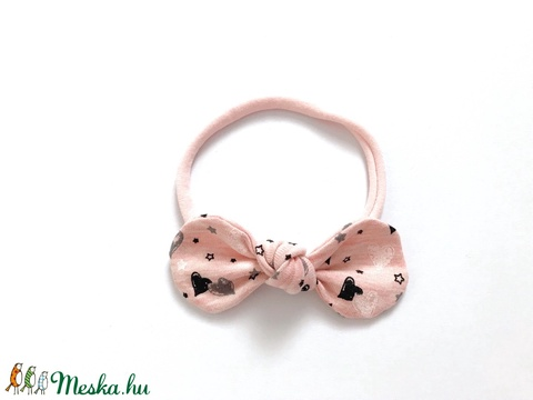 Rózsaszín alapon szíves mintás pamut masni puha rugalmas fejpánt, hajpánt (RibbonLove) - Meska.hu