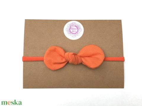 Narancssárga színű pamut masni puha rugalmas fejpánt, hajpánt (RibbonLove) - Meska.hu