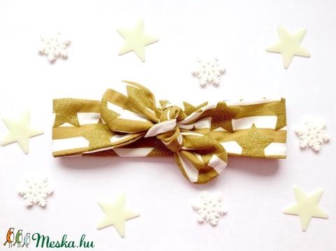 Arany és fehér csíkos, csillogó csillag mintás masnis (csomózott) rugalmas pamut fejpánt / hajpánt (RibbonLove) - Meska.hu