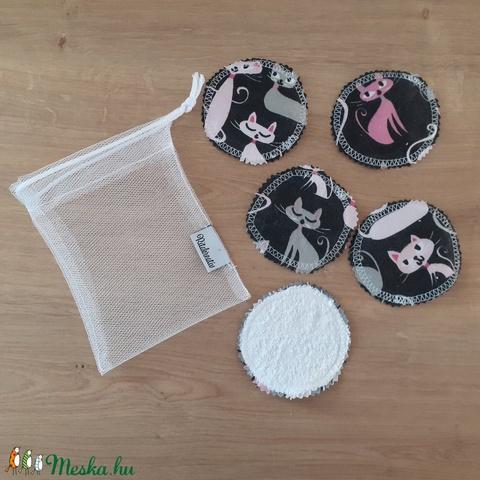 Arctisztító korong szett (5 db) ajándék mosózsákkal, fekete macska - sminklemosó, arclemosó, kozmetikai párna - Meska.hu