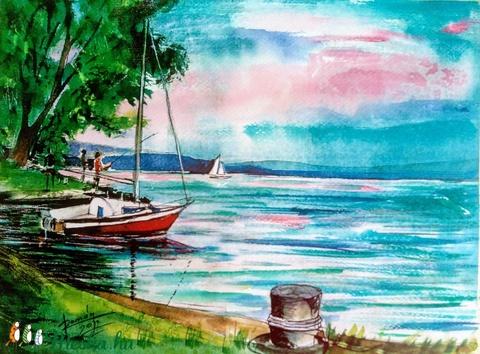 Balaton, balatoni akvarell, Vitorlás, Vitorlázás (romandoramaria) - Meska.hu