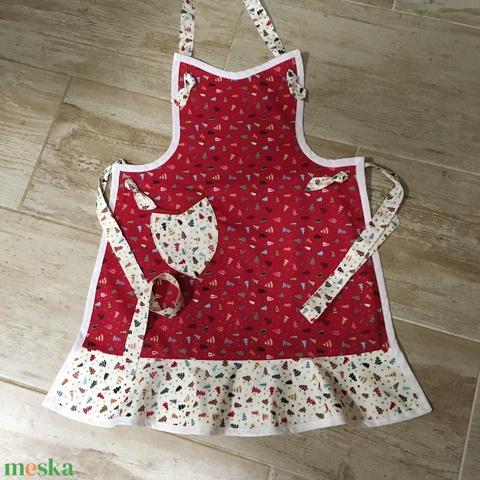 Fenyőfa mintás kötény piros - konyhában is csinosan (Roxy) - Meska.hu