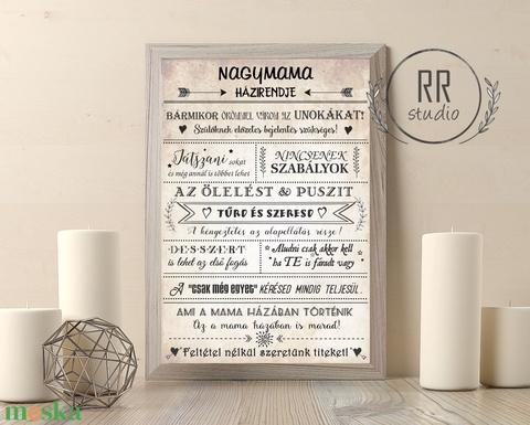 Nagymama házirendje, Családi szabályok, unoka, Nagyi, házirend, vintage falikép, nagypapa, nagyszülők, házi áldás, név - Meska.hu