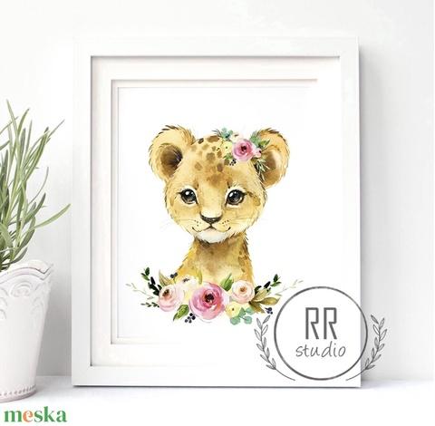Oroszlán, Afrikai állat, Vízfesték Kép, Gyerekszoba Falikép, babaszoba dekoráció, állatos, vadállat, afrika - Meska.hu