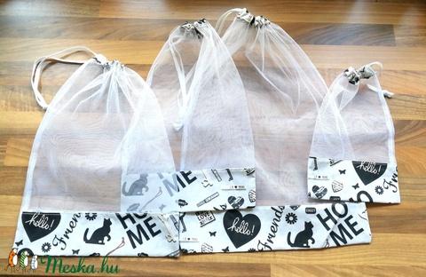 4 db nowaste bevásárló tasak gyümölcsökhöz, zöldségekhez - nowaste bevásárló zsák - cicás-feliratos mintás zsák, tasak (Ruciwebshop) - Meska.hu