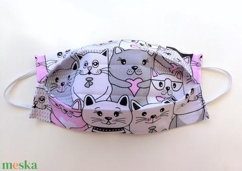 1 db Rózsaszín cicás maszk - mosható dupla rétegű maszk - cica mintás maszk - mintás maszk - maszk hölgyeknek (Ruciwebshop) - Meska.hu