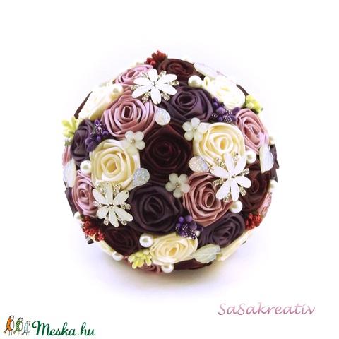 'SATIN RIBBON ROSES' csokor KÖZEPES (sasakreativ) - Meska.hu