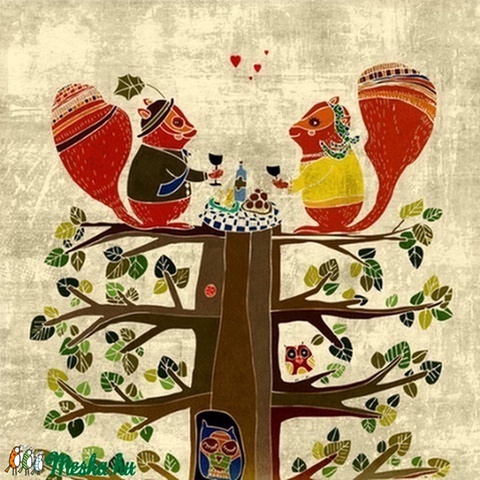 Piknikező mókusok - kép a szobába (schalleszter) - Meska.hu