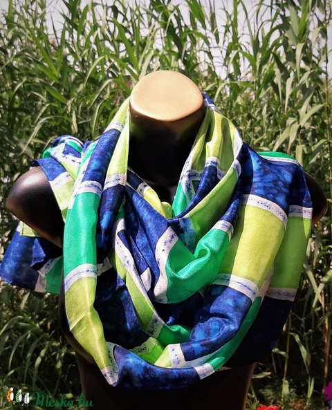 Menta-, rezeda zöld, sötétkék kockás selyemsál - ruha & divat - sál, sapka, kendő - sál - Meska.hu