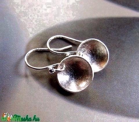 Ezüst korong fülbevaló (csiszolt, 12mm)  - Meska.hu