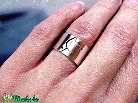 Tulipán ezüst gyűrű (széles, szatén) - Meska.hu