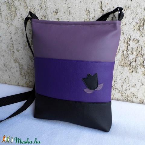 Háromszínű tulipános táska / lila (smagdi) - Meska.hu