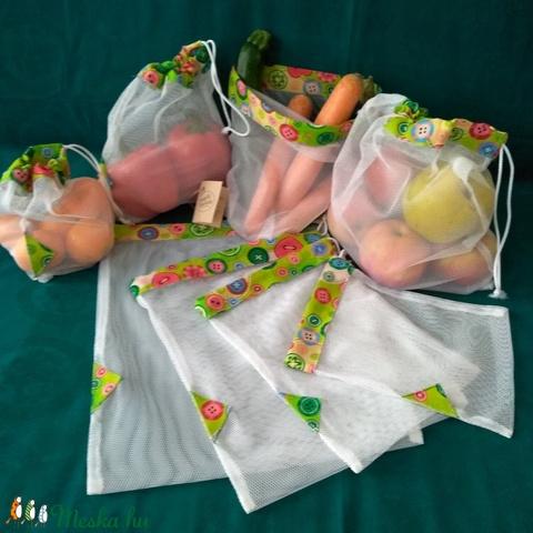 4 db színes, gombmintás szütyő szuper tartós tüllből zöldség/gyümölcs vásárláshoz, tároláshoz (sofiesalex) - Meska.hu