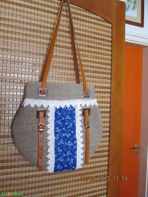 Egy újabb zsákvászon táska kékfestővel díszítve,valódi bőr füllel - Meska.hu