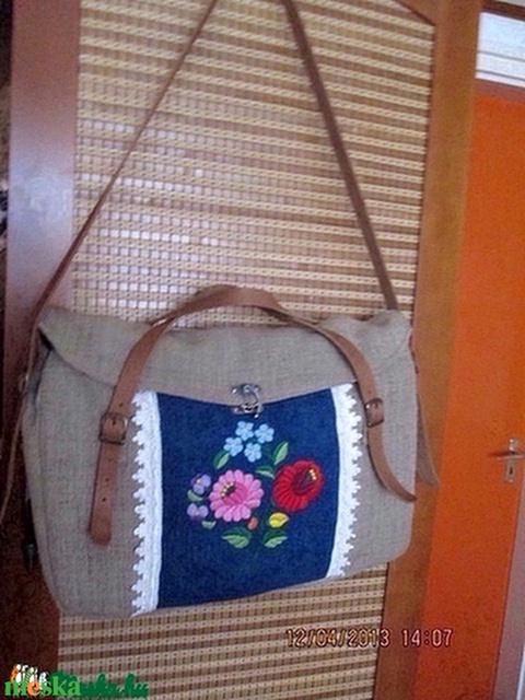 Laptop táska,vagy óriási pakolós táska kalocsi hímzéses farmer betéttel - Meska.hu