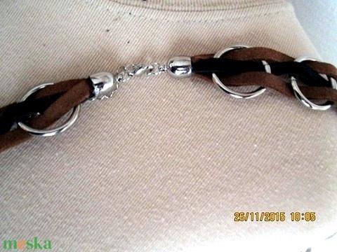 AKCIÓ!!!Karikás nyaklánc két színű bőrszállal - Meska.hu