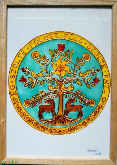 Életfa- Hun. #Életfa #csodaszarvasok-kal #mandala formában. Népies, magyaros, hagyományőrző dekorációs üvegfestmény. - Meska.hu