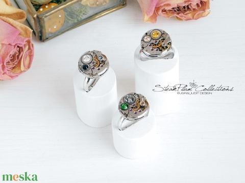 Miss Florence Withlock - swarovskival díszített gyűrű  (SteamPlum) - Meska.hu