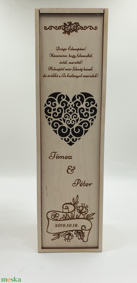 Egyedi esküvői szülőköszöntő bortartó esküvőre - esküvő - emlék & ajándék - köszönőajándék - Meska.hu
