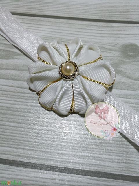 Fehér-arany virág hajpánt (Szalagcsokor) - Meska.hu