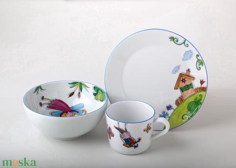 Tavaszi mintával megfestett Kerekítőmanós(jogdíjas) porcelán gyermek étkészlet (SzilArtstudio1) - Meska.hu