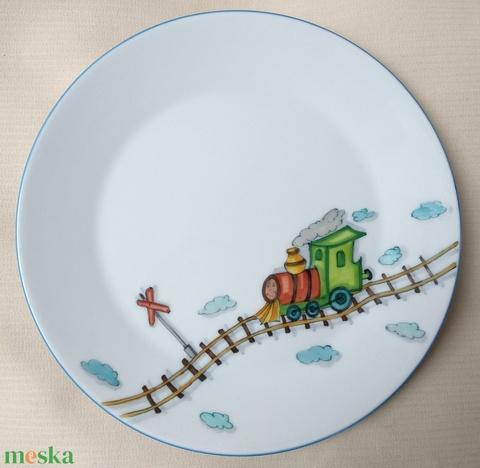 Gyermek étkészlet vonatos mintával - Meska.hu