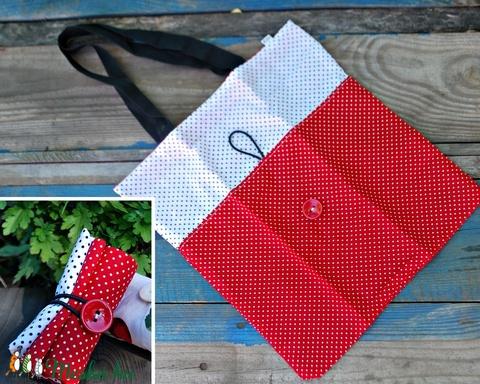 Gombolós ökoszatyor piros és fehér pöttyös- kisebb  (Szilvadekor) - Meska.hu
