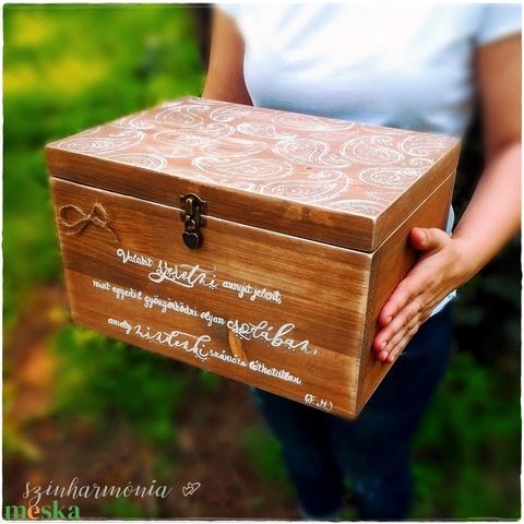 Emlékláda - Rusztikus (fa, évforduló, keresztelő, pénzgyűjtő, fotózás, nászajándék, esküvő, tároló, ballagás, doboz) (szinharmonia) - Meska.hu