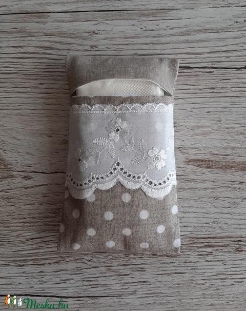 Papírzsebkendő tartó,natur és natur pöttyös vászonból madérával díszitve (szivecskemania) - Meska.hu
