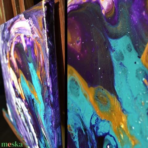 Lila csoda egyedi absztrakt akrilfestmény, folyatásos fluid pouring technika, palettakés, ujjfestés; modern festmény (szjdesign) - Meska.hu