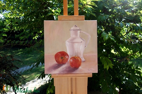 Fehér vizeskanna, piros almákkal- olajfestmény  (SzofiOtthonDekor) - Meska.hu