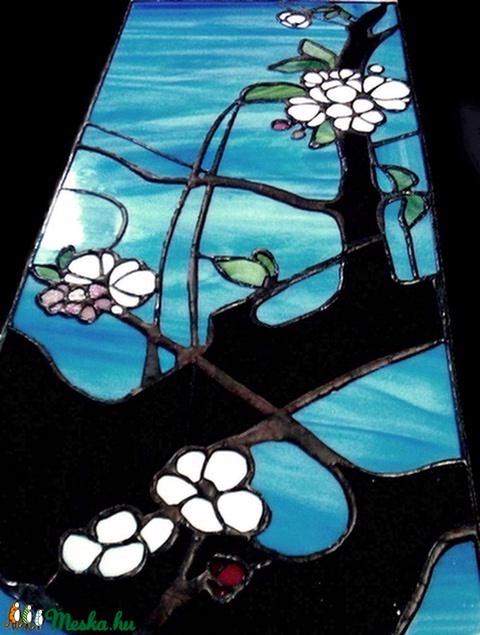 Japán cseresznyevirágok világító tiffany falikép - Meska.hu