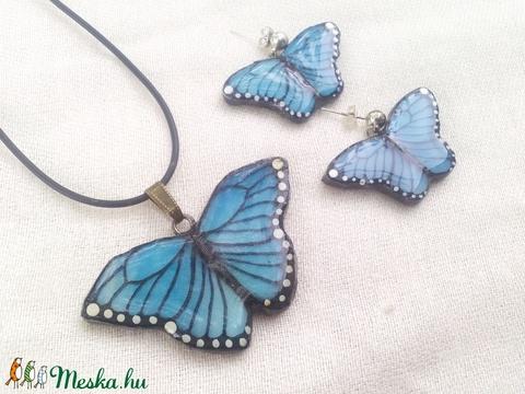Kék pillangós ékszerszett tiffanyból ezüst alkatrésszel - Meska.hu