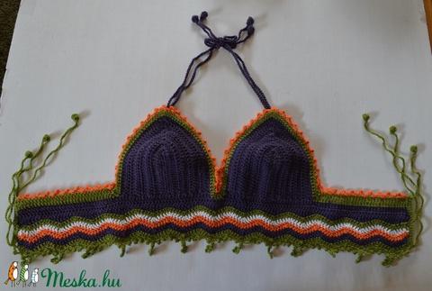 Nyár 2 - Kivi-narancs-lila bralette top - horgolt, nyakbakötős modell. (Taffa) - Meska.hu