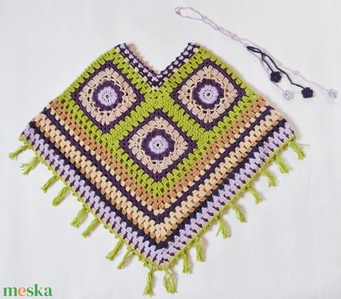 Levendula kert - horgolt női poncsó levendula lila, sötétlila, bézs, világoszöld színekből.  - Meska.hu