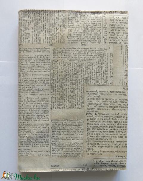 Újságpapír mintás textil könyvborító (tamarabook) - Meska.hu