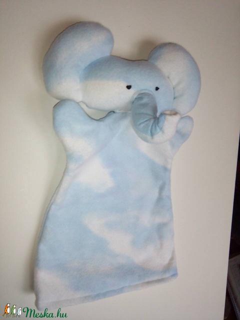 Kék színű, felhő mintás elefánt báb - Meska.hu